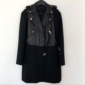 Zara Faux Leather Black Trench Coat
